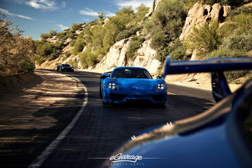 Blue Porsche 918