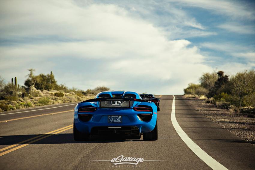 Blue Porsche 918 Rear